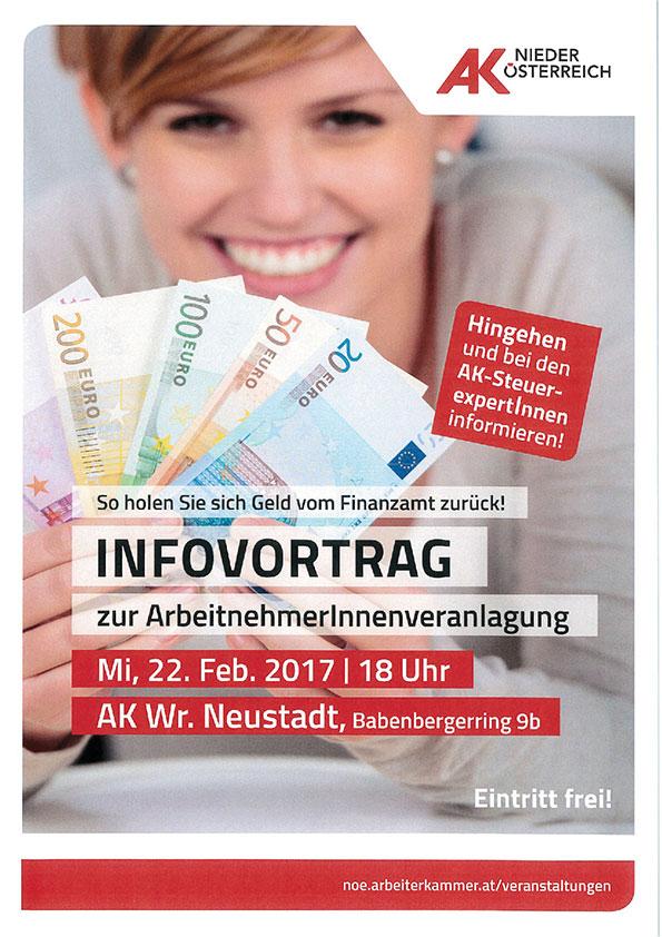 Plakat Infovortrag Arbeitnehmerveranlagung